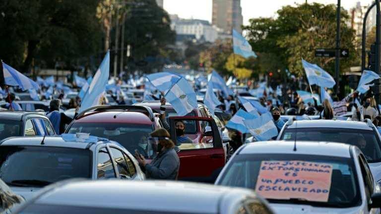 Protestos na Argentina contra o governo e quarentena